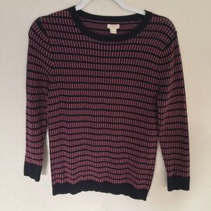 J Crew Striped Knit Pullover Scoop Neck Sweater S